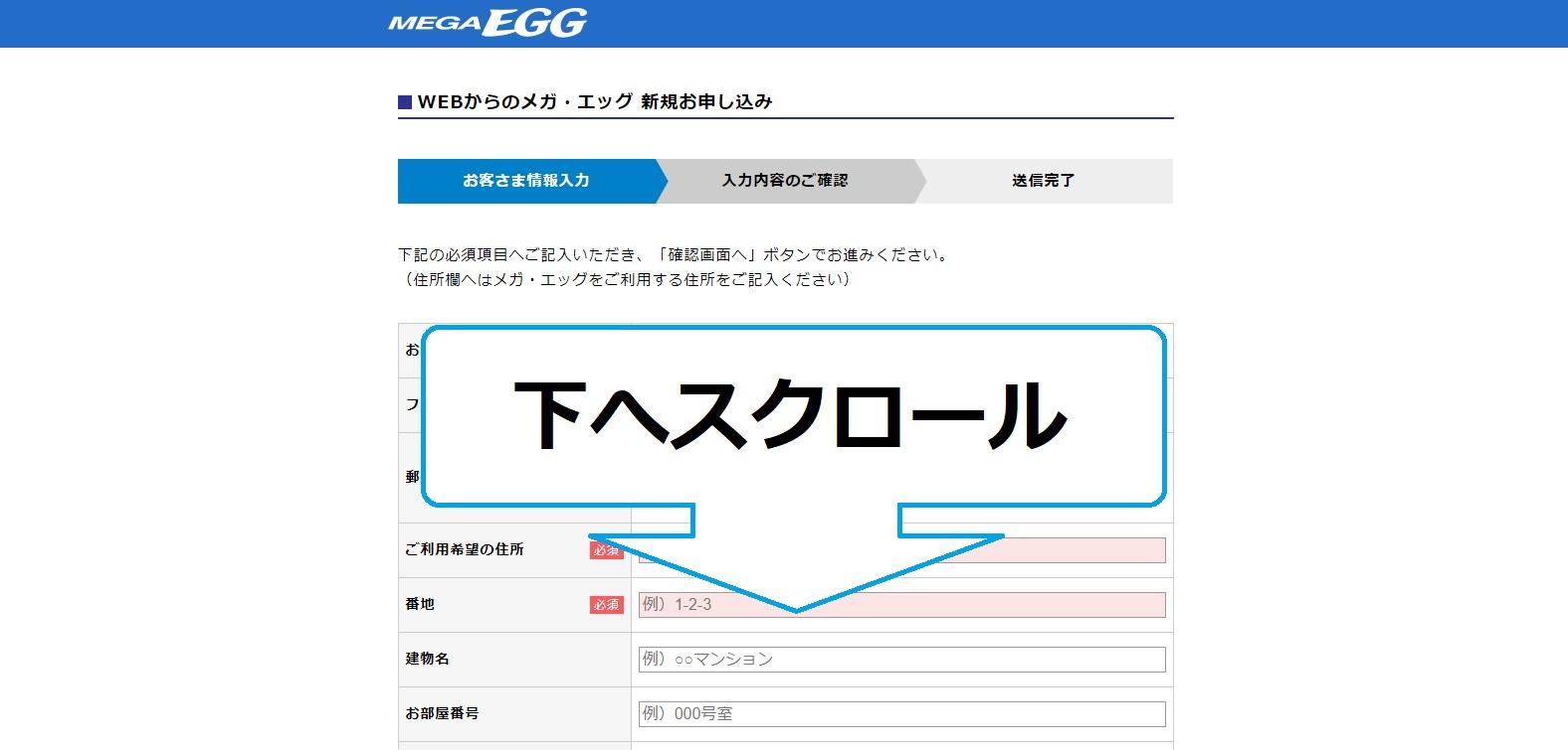 代理店NEXTからMEGA EGGをパソコンで申し込みする方法②