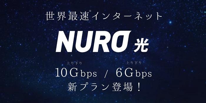 NURO光10Gs/6Gsのホームページのトップページ