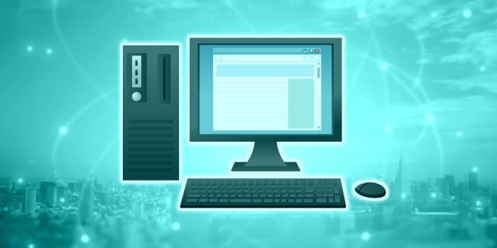 パソコンをインターネットに接続しているイメージ(ターコイズブルー)