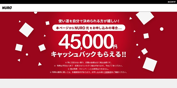 NURO光公式キャンペーンサイトのトップページ画像